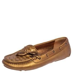 Bottega Veneta Gold Intrecciato Leather Loafers Size 37.5