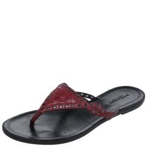 Bottega Veneta Burgundy Leather Thong Sandals Size 38.5