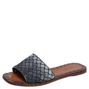 Bottega Veneta Metallic Grey/Silver Intrecciato Fabric Slide Flats Size 36