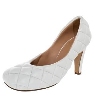 Bottega Veneta White Quilted Leather Padded Bloc Square Toe Pumps Size 37