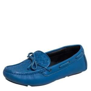 Bottega Veneta Blue Intrecciato Leather Bow Slip On Loafers Size 38