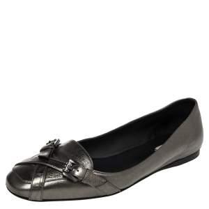 Bottega Veneta Metallic Leather Cross Buckle Strap Ballet Flats Size 39