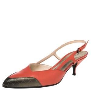 Bottega Veneta Orange/Metallic Intrecciato Leather Cut Out Slingback Sandals Size 40