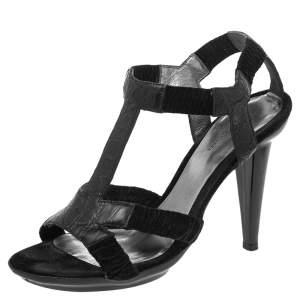 Bottega Veneta Black Croc Embossed Leather T-Strap Sandals Size 38.5