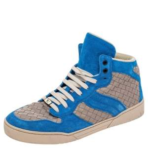 Bottega Veneta Blue/Grey Suede And Intrecciato Leather High Top Lace Up Sneakers Size 42