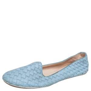 Bottega Veneta Blue Intrecciato Leather Smoking Flats Size 41