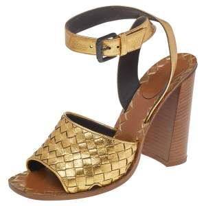 Bottega Veneta Gold Intrecciato Leather Block Heel Sandals Size 40