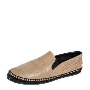 Bottega Veneta Beige Intrecciato Leather Espadrille Flats Size 40