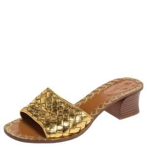 Bottega Veneta Gold Intrecciato Leather Ravello Slide Sandals Size 37