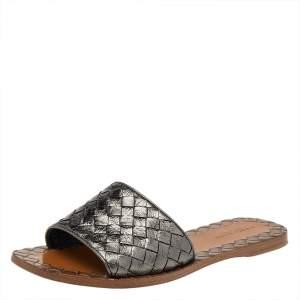 Bottega Veneta Metallic Intrecciato Leather Flat Slides Size 35