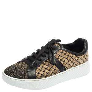 Bottega Veneta Black/Gold Woven Fabric and Leather Lace Low Top Sneakers Size 37