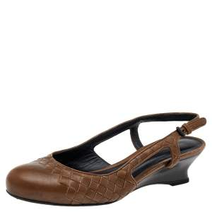Bottega Veneta Brown Intrecciato Leather Slingback Sandals Size 38