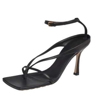 Bottega Veneta Black Leather Stretch Square Sandals Size 37.5