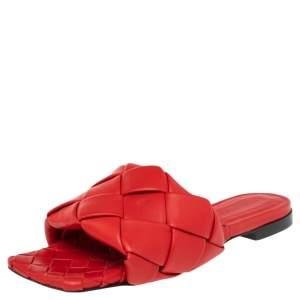 Bottega Veneta Red Intrecciato Leather Flat Slide Sandals Size 37