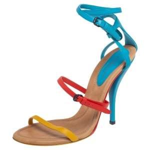 Bottega Veneta Multicolor Leather Strappy Ankle Strap Sandals Size 38