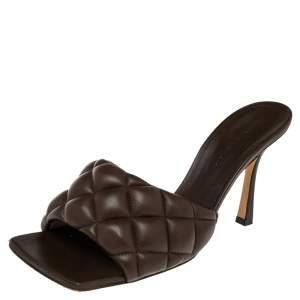 Bottega Veneta Dark Brown Padded Leather Slide Sandals Size 39