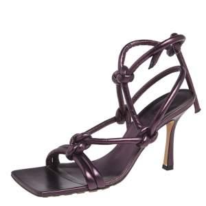 Bottega Veneta Metallic Purple Leather Knot Sandals Size 39