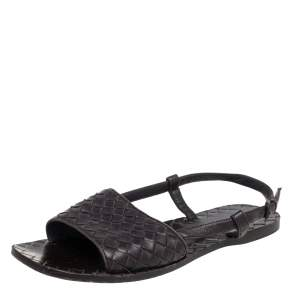 Bottega Veneta Dark Brown Intreciatto Leather Calvados Slingback Flats Size 36.5