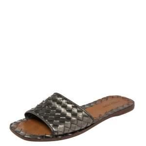 Bottega Veneta Metallic Grey Intrecciato Leather Flat Slide Sandals Size 36