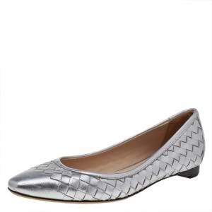Bottega Veneta Silver Intrecciato Leather Ballet Flats Size 36
