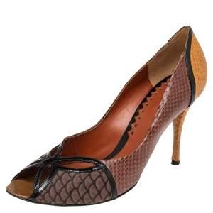 Bottega Veneta Multicolor Snakeskin Embossed Leather And Patent Leather  Peep Toe Pumps Size 41