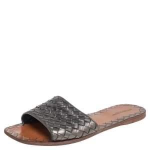 Bottega Veneta Metallic Silver Intrecciato Leather Slide Flats Size 39