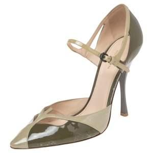 Bottega Veneta Olive Green Patent Leather Ankle Strap Sandals Size 40