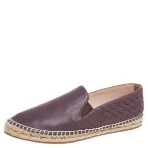Bottega Veneta Mauve Intrecciato Leather Espadrille Flats Size 36
