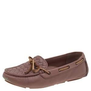 Bottega Veneta Beige Intrecciato Leather Bow Slip On Loafers Size 37