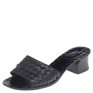 Bottega Veneta Black Intrecciato Leather Ravello Slide Sandals Size 36.5