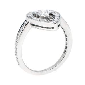 Boucheron Ava Pear Diamond 18k White Gold Ring Size 53