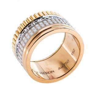 Boucheron Quatre White Edition Large Ceramic Diamond 18K Three Tone Gold Band Ring Size 52