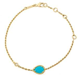 Boucheron Serpent Boheme Turquoise Diamond 18K Yellow Gold Bracelet