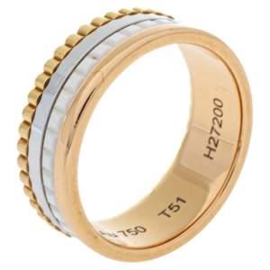 خاتم بوشيرون كواتر سيراميك أبيض ذهب ثلاثي اللون عيار 18 مقاس 51