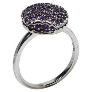 Boucheron Macaron Amethyst 18K White Gold Small Cocktail Ring Size 51