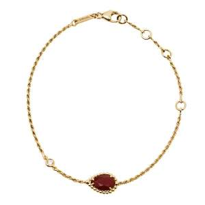Boucheron Serpent Boheme Diamond Carnelian 18K Yellow Gold Bracelet XS
