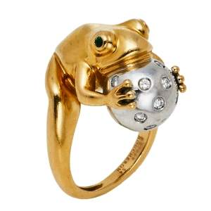 Boucheron Grenouille Diamond 18K Two Tone Gold Ring Size 54
