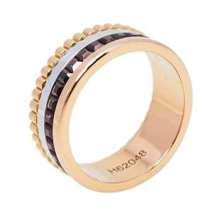 Boucheron Quatre Classique 18K Three Tone Gold Brown PVD Large Band Ring Size 47