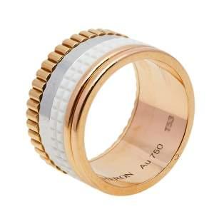 خاتم بوشيرون كواتر حلقة عريضة ذهب ثلاثي اللون عيار 18، وسيراميك أبيض مقاس 53