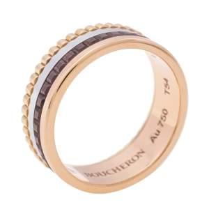 Boucheron Quatre Classique Brown PVD 18k Three Tone Gold Small Band Ring Size 54