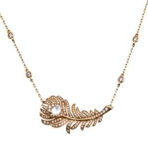 Boucheron Plume de Paon Diamond 18k Rose Gold Pendant Necklace
