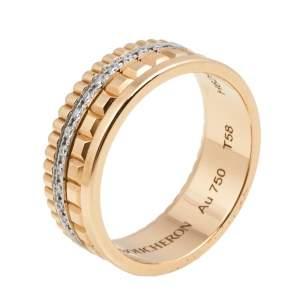 Boucheron Quadrate Radiant Diamond 18k Two Tone Gold Small Band Ring Size 58