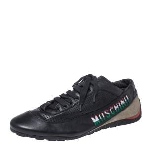 Moschino Black Suede Leather Low Top Sneakers Size 43