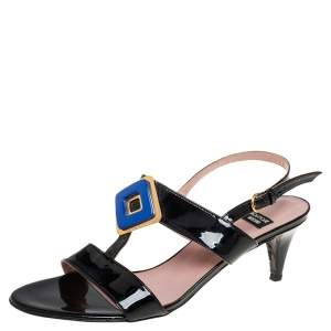Boutique Moschino Black Patent Leather Slingback Sandals Size 39