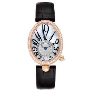Breguet MOP Diamond 18K Rose Gold Reine de Naples 8818 Women's Wristwatch 28 X 36 MM