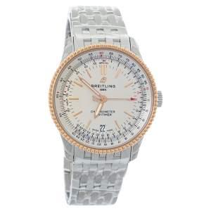 Breitling Cream 18K Rose Gold Stainless Steel Navitimer 1 U17325211G1A1 Men's Wristwatch 38 mm