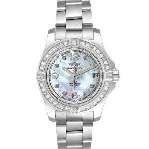 Breitling MOP Diamonds Stainless Steel Colt A74389 Women's Wristwatch 36 MM