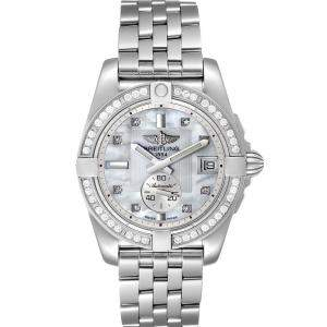 Breitling MOP Diamonds Stainless Steel Galactic A37330 Women's Wristwatch 36 MM
