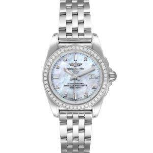 Breitling MOP Diamonds Stainless Steel Galactic A72348 Women's Wristwatch 29 MM