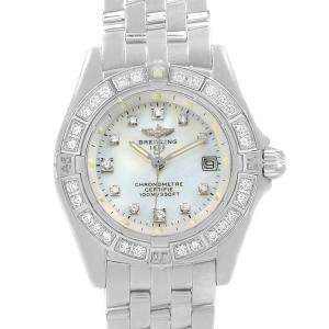 Breitling MOP 18K White Gold Diamond Callistino Women's Wristwatch 29MM